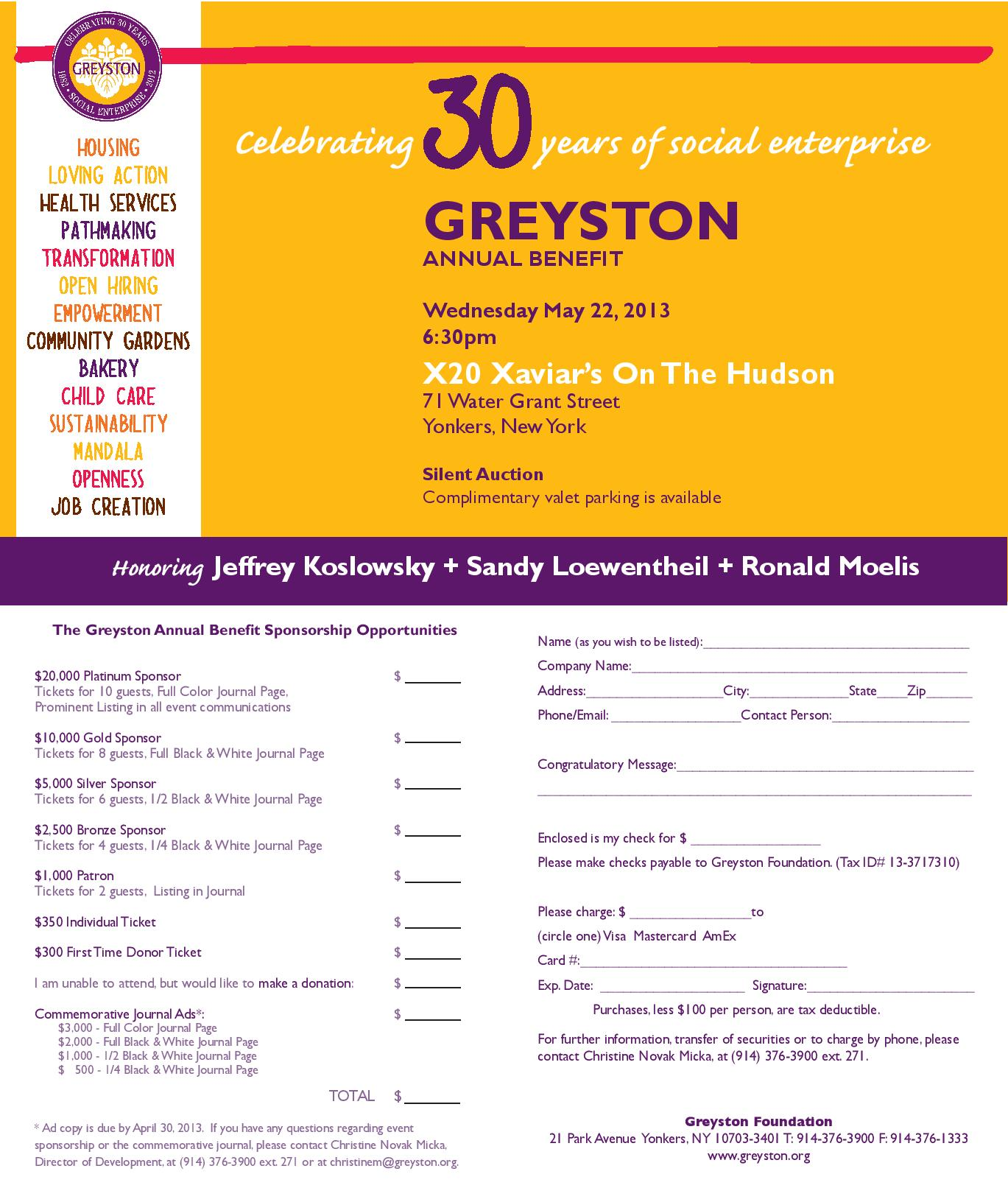 Greyston to Honor Jeffrey Koslowsky